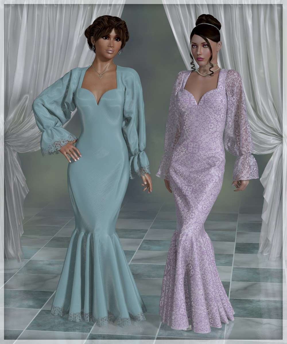 Dynamics 01 - Dress for Dawn and Victoria 4 - A Lully 3D Creation