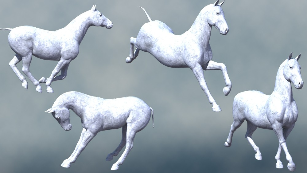 Stone Equus Poses for the HiveWire Horse - An Ensary 3D Creation