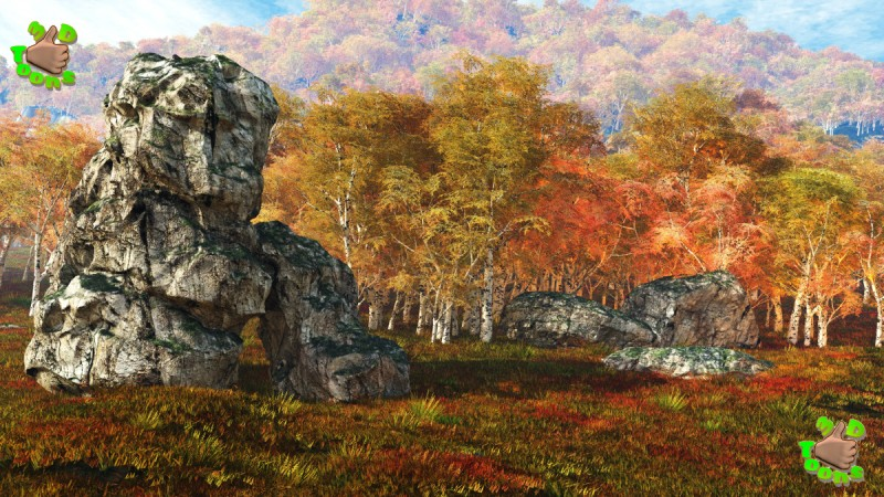 Matte Paintings Winter and Autumn Backgrounds