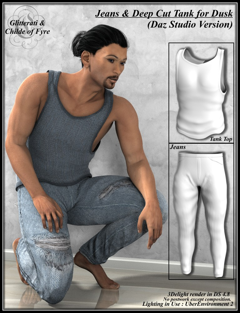 Skinny Jeans and Deep Cut Tank for Dusk - DAZ Studio