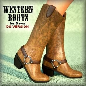 Western Boots for Dawn  Stack - DAZ Studio
