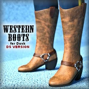 Western Boots for Dusk - DAZ Studio